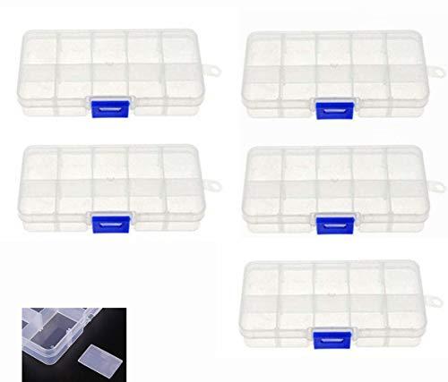 Milepet Angelköder, Hakenbox, 10 Schlitze, Kunststoff, transparent, für kleine Accessoires, Schmuckperlen, Ohrringe, Aufbewahrungsbox, 5 Stück