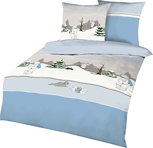Kaeppel Feinbiber Bettwäsche Eisbär Größe 135x200+80x80 cm Farbe Hellblau