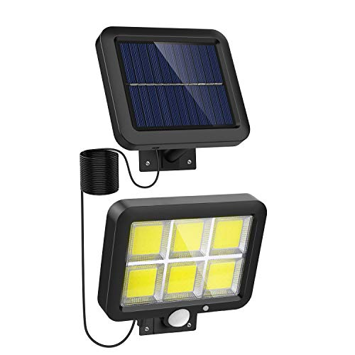 Solar Lights Outdoor Motion Sensor w/ 120 Bright COB LED, 16.4Ft Cable, 3 Lighting Modes, Adjustable Panels. Wired Solar Powered Lights for Indoor, Outside, Ceiling, Shed, Yard(5500K)