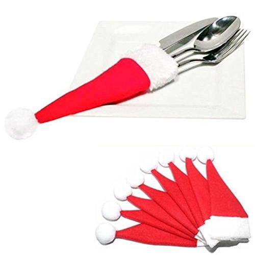 HENGSONG 8 Stück Weihnachten Tischdeko Weihnachtsmann Hut Bestecktasche Besteckbeutel Besteckhalter für Weihnachten Deko