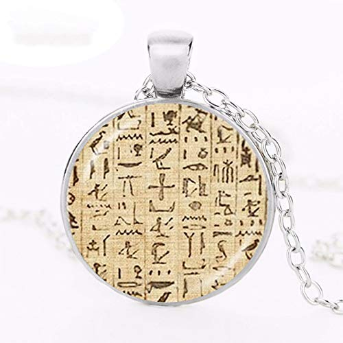 Collar de jeroglficos egipcios de papel musulmn Egipto Escribir imagen Colgante Antiguo Egipto Joyera Accesorios de Moda