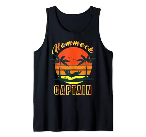 Summer Funny Hamaca Capitán Retro Sunset Graphic Camiseta sin Mangas