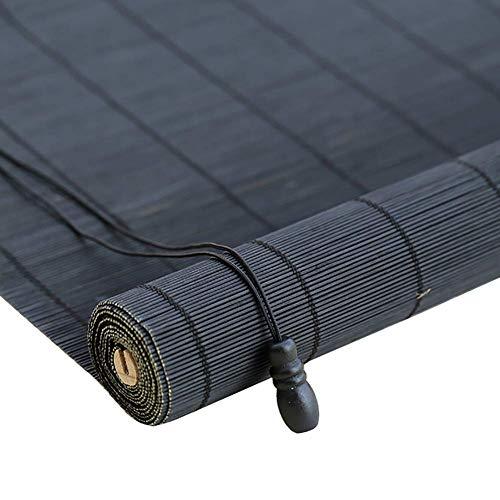 GG-Exterior Doors Roller Shades Bamboo Curtain - Lifting Roller Roll Up Blinds Waterproof Modew, Negro (Color: Cortina Plana, Tamaño: 120x220cm)
