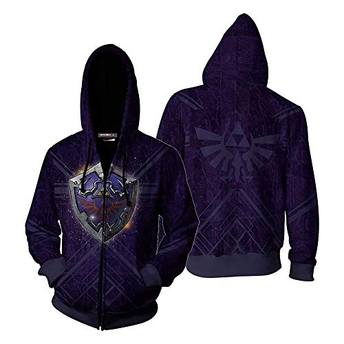 The Legend of Zelda Triforce Cosplay Costume Breath of The Wild Link Hooded Sweatshirts Men's Zipper Jacket, Purple, Medium
