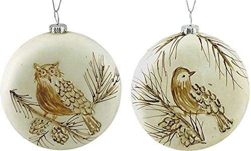 Party Explosions Woodland Bird & Owl Hand Painted Glass Ornaments - Set of 2