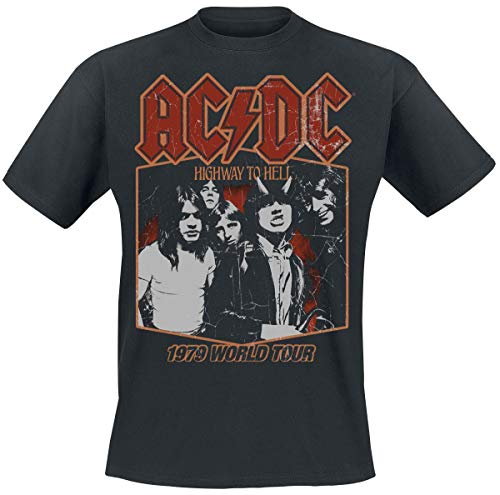 AC/DC Highway To Hell Tour '79 Hombre Camiseta Negro, Regular