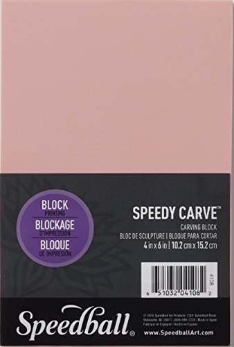 Speedball 4108 Speedy-Carve Block Printing Carving Block – Soft, Easy Carve Surface – 4 x 6 Inches, Pink