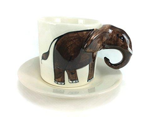 Elephant Tea Cup Enamel Cartoon Painted Milk Glass Coffee cup Cute Mug Anime Tea Cup Giant Mug Spirit Animal for Kid