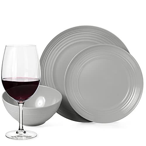 Juego de vajilla antideslizante de melamina para camping, color gris, para 4 personas, 16 piezas + 4 copas de vino tinto Tiamo, vajilla de picnic, barbacoa, utensilios de cocina