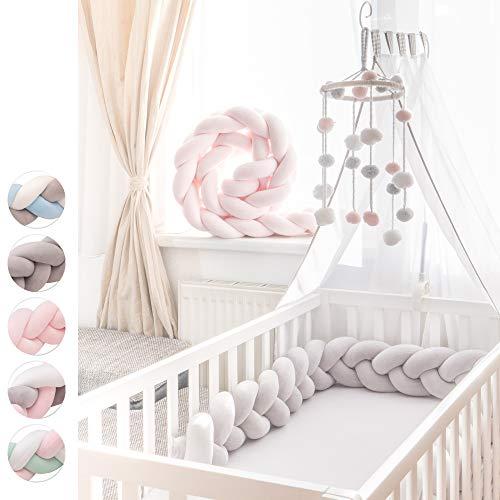 KINDNEST Premium Bettumrandung Lavendel SET Kinderbett Baby Nestchen 2m Krippe Weben Geflochten Stoßfänger Kopfschutz Bettausstattung Dekoration für Babybett Babywiege (Grau, 2m)