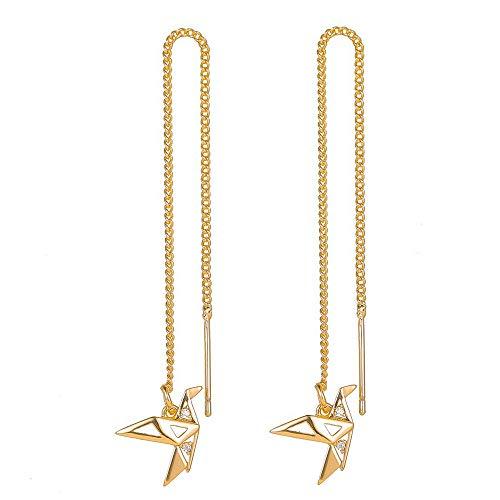 ChicSoleil Pendientes de mujer de simulación de colibrí, pájaro, mariposa, brillantes, borla larga, pendientes de aleación, regalo (corona de papel dorado)