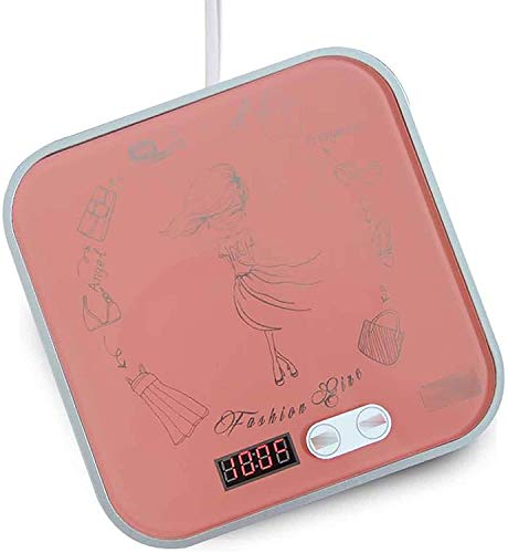 GIOAMH Beverage Coasters,Office Milk Heaters,Coffee Thermostats,Heat Insulation Bases,Pink,175 * 175 * 35mm