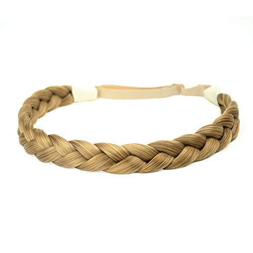 DIGUAN Synthetic Hair Braided Headband Classic Chunky Wide Plaited Braids Elastic Stretch Hairpiece Women Girl Beauty accessory, 55g aHairBeauty (#Golden Brown)