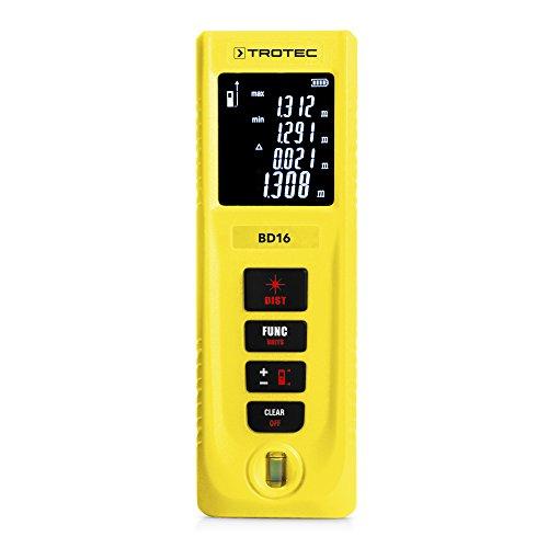 TROTEC BD16 Laser Entfernungsmesser, Distanzmessgerät (Messbreich 0,05 bis 40m / ±3mm, 3-Punkt-Pythagorasfunktion, IP 54)
