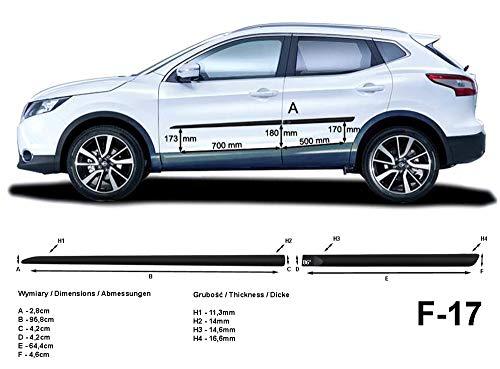Spangenberg, bandes de protection latérales noires, compatible avec Nissan Qashqai II 2ème génération à partir de l'année 11.2013- F17 (3700017)