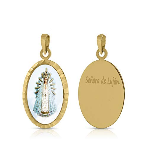 ROSA DI MANUEL Medalla Virgen comunión en Oro 18 k,para Mujer, niña Unisex. Medida 12 x 18 milímetros. Elija la suya.Pilar, Rocio, etc, (V. Sra de Lujan)