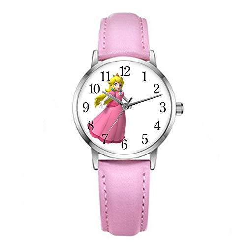 YUNMEI Reloj Super Mario Super Mario Princess Peach Reloj para niños Niños Niñas Estudiantes Relojes de Pulsera de Cuarzo Casual Correa de Cuero Rosa Figuras Juguetes Regalos