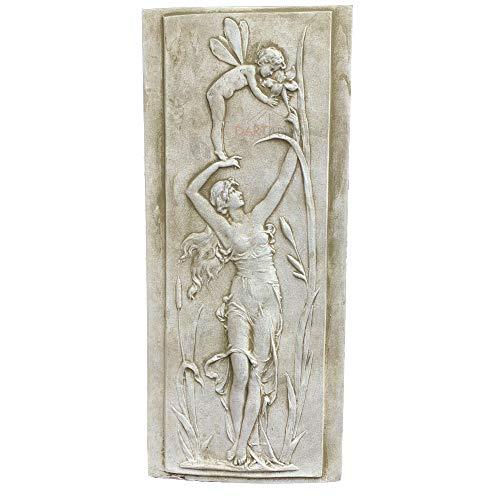 Darthome Ltd Stone Garden Statue Ornament Sculpture Nymph & Cherub Angel Fairy Wall Plaque A