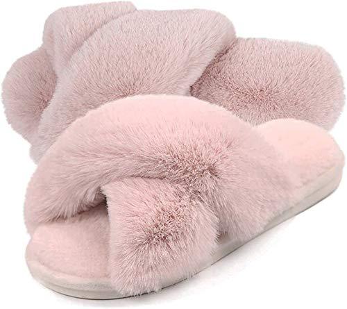 Gainsera Pantofole Pelliccia Donna Pantofole Pelose Morbido Pantofole da Casa Peluche Inverno Ciabatte Punta Aperta Slippers,328 Rosa 40/41 EU