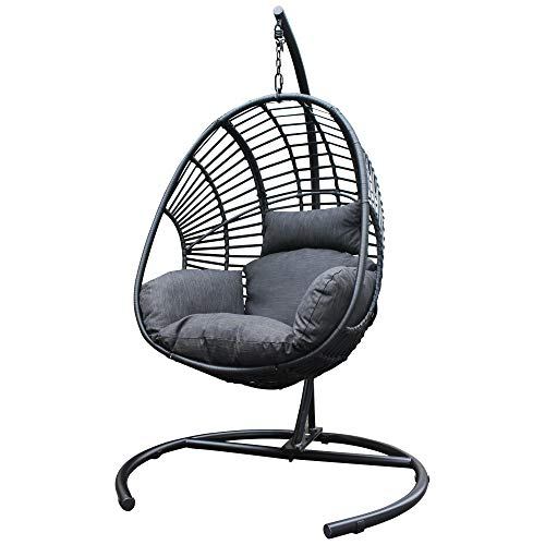 Hommoo Outdoor Swing Chair Luxury Hanging Chair Cushion Hammock Chairs Wicker Hanging Egg Basket Seat for Home Patio, Black