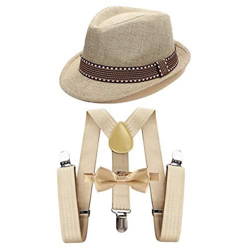 IZKIZF Kids 1920s Costume Fedora Gangster Hat Y-Back Suspenders Bow Tie Wedding Birthday Party Halloween Cosplay Outfit 2-6T Khaki