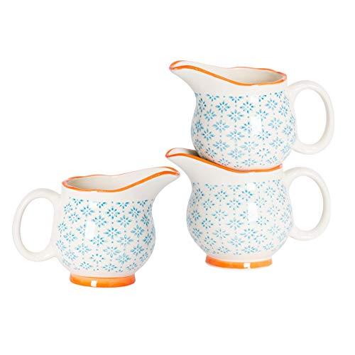Nicola Spring Pot à Lait/à sauces/à crème à crème à Motifs en Porcelaine - Bleu/Orange - 300 ML x3