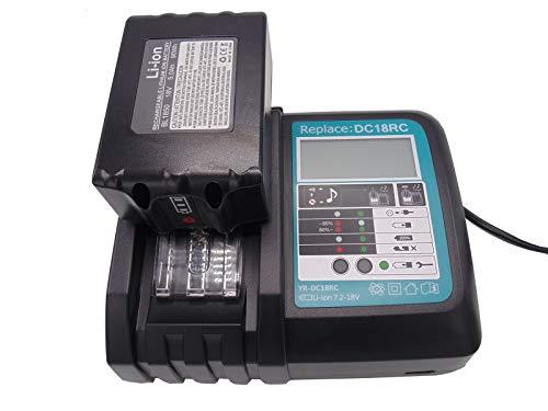 BL1850B Batería 18V 5,0Ah + Cargador DC18RC 3A para Makita BL1830 BL1840 BL1850, DUC353Z DUC302Z DLM380Z DLM431Z DUH523Z, Radio DMR102 DMR105 DMR108