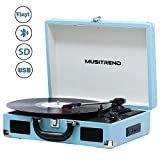 MUSITREND Tocadiscos Bluetooth, Reproductor de Vinilo 33/45/78, Reproductor USB/SD y...