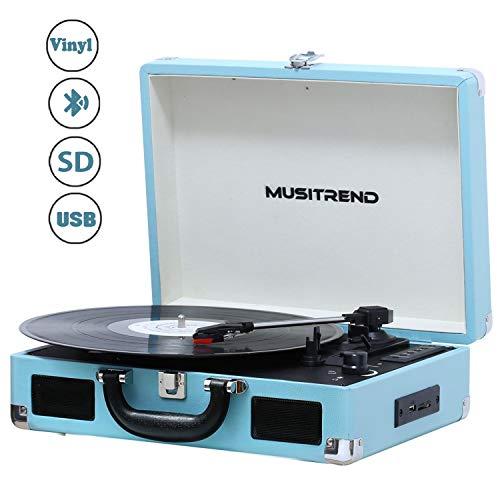 MUSITREND Tocadiscos 33/45/78 RPM, Maleta Portátil con 2 Altavoces Integrados,...
