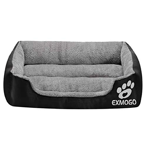 EXMOGO Hundebett Katzenbett, weiche und Bequeme Haustierbetten mit PP-Baumwolle, geeignet für kleine, mittlere und große Haustiere XXL: 95 x 75 x 18 cm (37