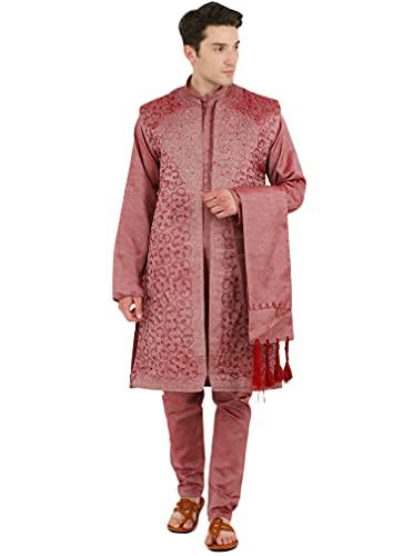 SKAVIJ Kurta Pajama For Men With Jacket And Stole Festival Wedding Suit Dress Set (Medium  Pink)