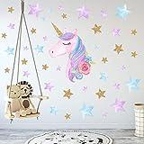 Bande Dessinée Mignonne Licorne Star Heart Stickers Muraux Papier Peint DIY Vinyle Maison Stickers...