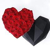 22 Rosas preservadas en Caja Regalo Corazón - Rosas eternas San Valentín - Flores preservadas Día de la Madre (Rosas Rojas en Caja Negra)