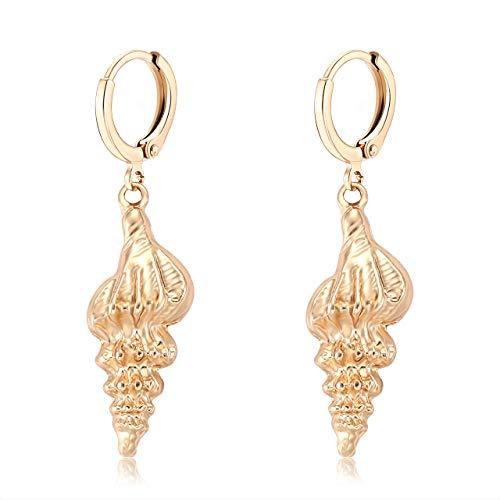 ELEARD Seashell Earrings Gold Metallic Seashell Drop Huggie Hoop Earrings for Women (Gold)