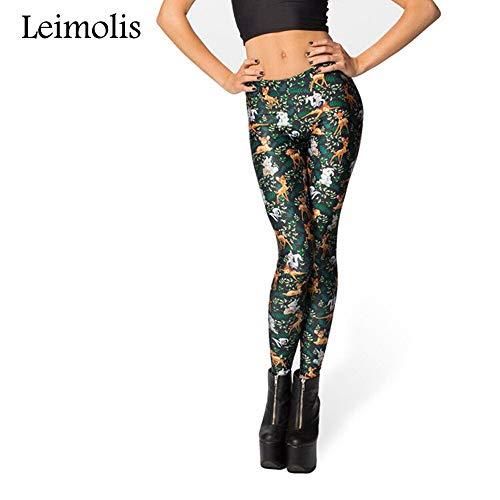 LEIMOLIS Yoga Hosen Leggings Printed 3D Fitness Push Up Workout Leggings Damen Gothic Jungle Moose Deer Plus Size Punk Rock Hose, Grün, XL