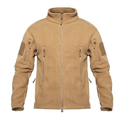 Chaquetas tácticas de forro polar para hombre, estilo militar, resistente al viento, con múltiples bolsillos, estilo casual con capucha (color: lodo, talla: XXXL)