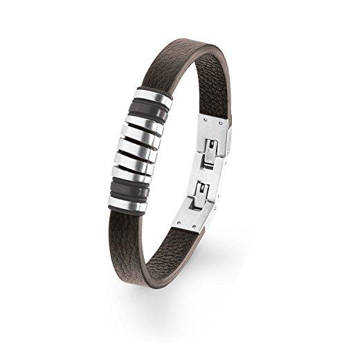 s.Oliver Herren Leder-Armband Edelstahl matt braun längenverstellbar 20+1,5cm