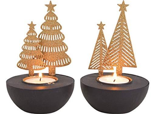 meindekoartikel 2er-Set Teelichthalter Tannenbaum aus Metall 2-Fach Sortiert - Kerzenhalter (schwarz-Gold) Ø 8 x Höhe 13cm