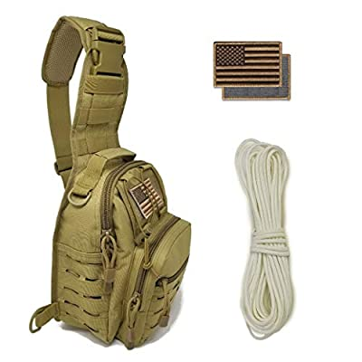 Tactical Sling Bag + G.I.D. Paracord + Flag Patch Combo - Military Day Pack, Small Backpack, Fishing, Hiking, Hunting