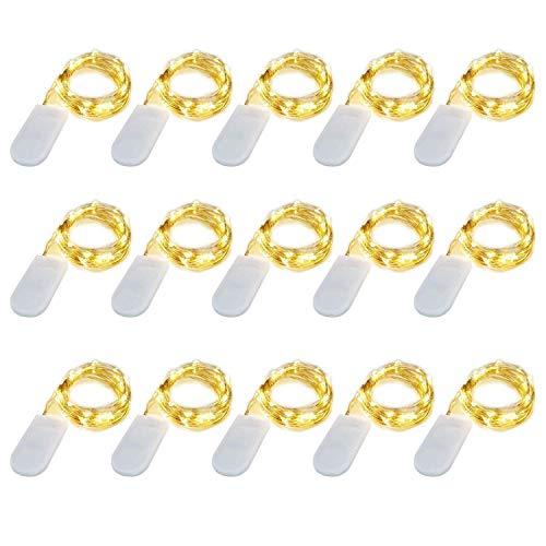 【15 pezzi】 SiFar 20 LED 2M Mini Lampada a fili di rame Bianco Caldo, Luci stringa LED Luci d'atmosfera Bottiglia di vino, Luci stellate alimentate a batteria per bottiglie Fai da te, feste