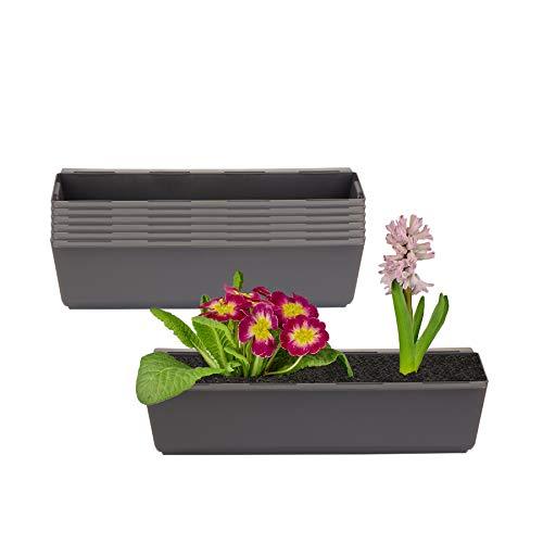 BigDean 6er Set Pflanzkasten inkl. Aufhänger für Europalette - Blumenkübel in Anthrazit - LxBxH ca. 37 x 13,5 x 9,5 cm - Ideal zum Hängen & Stellen - Robust & wetterfest -