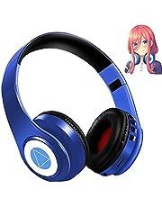 五等分の花嫁 コスプレヘッドフォン Bluetooth 5.0 ワイヤレス マイク內蔵 中野三玖 Bluetoothヘッドホン ワイヤレスヘッドフォン折りたたみ式ヘッドフォン ケーブル著脫式 柔らかい保護カバー 日本語説明書(ブルー)