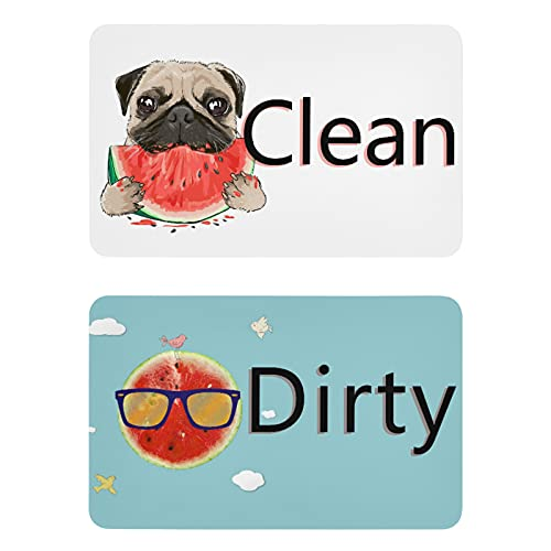 Naanle Funny Watermelon Pug Dog Dishwasher Magnet Clean Dirty Sign Indicator Reminder Magnetic Plate Fridge Magnets Kitchen Dish Washer Refrigerator Magnet Signs for Kitchen Home Office Decor