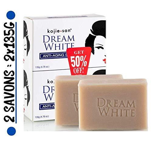 Kojie San - 2 Savons Éclaircissant & Anti-Age de 135g, Authentique et Original Kojie San Dream White Soap à l'Acide Kojique, Collagène et Élastine (2 Savons = 2x135g)