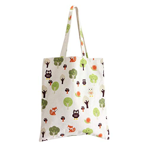 Fengyuanhong Women Printed Canvas Tote Shoulder Bags Women Bag Cotton with Zipper Reusable Shoulder Bag for Shopping Grocery