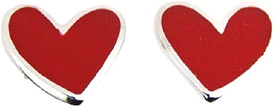 Agatha Ruiz de la Prada Sterling Silver red enamel heart post earrings.