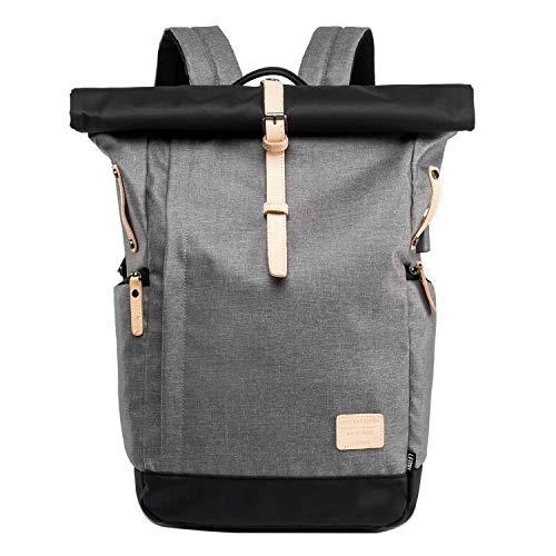 Neuleben Kurierrucksack 15,6 Zoll Laptop Rucksack Rolltop Wasserfest Schulrucksack Daypack mit USB Ladeanschluss für Damen Herren (Schwarz Grau)
