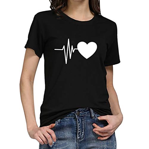 iHENGH Damen Top Bluse Bequem Lässig Mode T-Shirt Frühling Sommer Blusen Frauen Lose Oansatz Spitze der Art und Weisefrauen kurzärmliges Herz Druck(B, L)