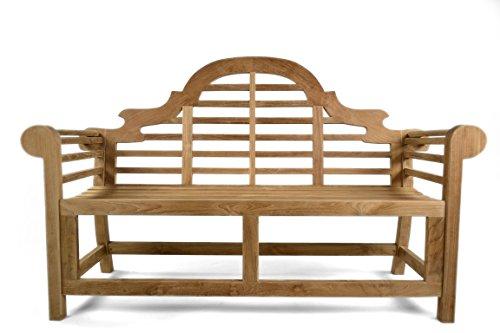 BrackenStyle Lutyens Grade A Teak Bench - 3 Seater Wooden Garden Benches