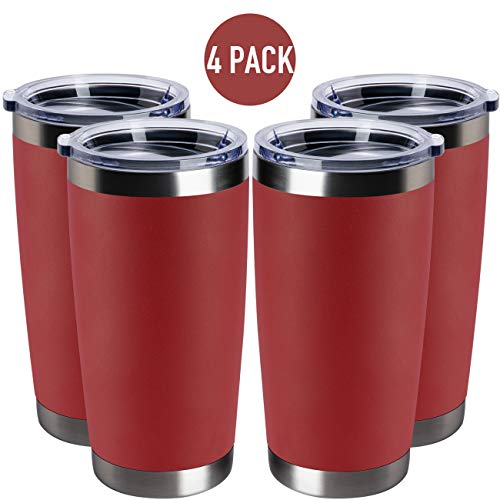 TDYDDYU 4 pack 20 OZ Double Wall Stainless Steel Vacuum Insulated Tumbler best insulated cup for hot drinks With Lid